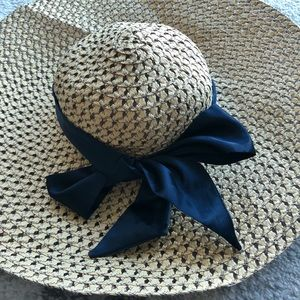 Light Weave Straw Hat with Blue Silk Bow